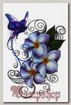 Переводная татуировка Цветок и бабочка