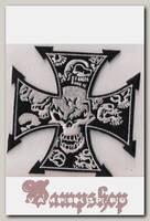 Термонашивка Железный крест с черепами