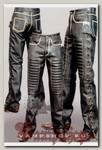 Штаны кожаные мужские с вставками гофрированной кожи
