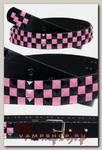 Ремень из экокожи 3 ряда черно-розовых пирамид